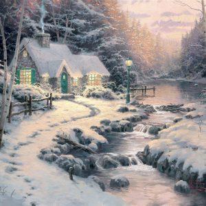 snow-cottage-art Thomas Kinkade