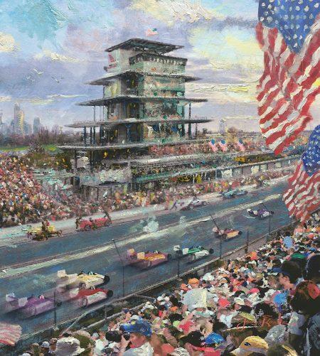 Indianapolis-art-500-pagoda-speedway-track-racecars Thomas Kinkade